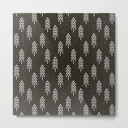 Pine Trees . Charcoal Metal Print