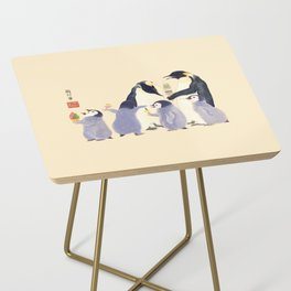 Emperor Penguin Family in the summer of Japan Side Table