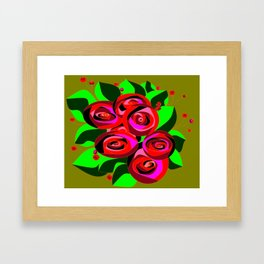 A Bouquet of Roses with Black Petals and Buds of Red Framed Art Print