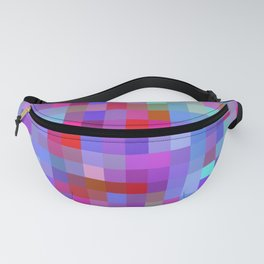 geometric square pixel pattern abstract background in blue purple pink red Fanny Pack