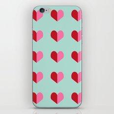 Heart love valentines day hearts pattern mint red valentine pattern iPhone & iPod Skin