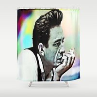 johnny cash Shower Curtains featuring Johnny Cash  by Enna