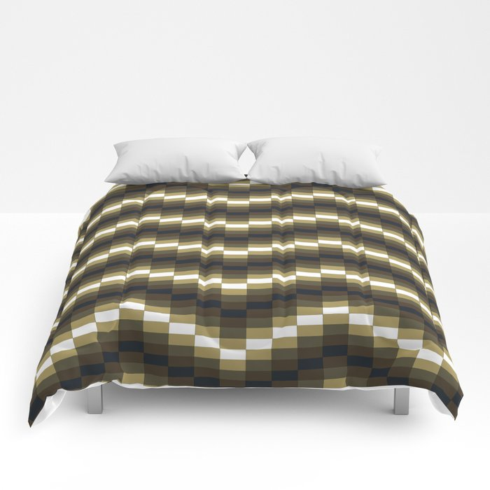 Block Wave Illustration Artwork Comforters