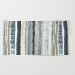 Distressed Blue and White Watercolor Stripe Beach Towel