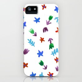 Hand Painted Calico Floral Pattern (Red Blue Green Purple) iPhone Case