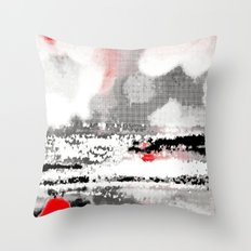 Abstract Seascape - Black, White, Red Throw Pillow