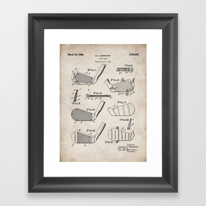 Golf Clubs Patent - Golfing Art - Antique Gerahmter Kunstdruck
