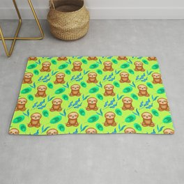 Funny cute happy cross-legged meditating relaxed chilling sloths and tropical rainforest exotic gree Rug