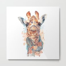 Giraffe with Scarf Metal Print