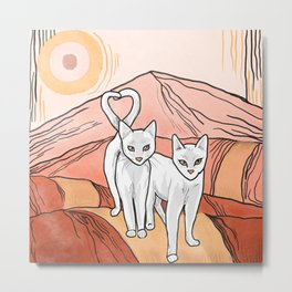 Cats on a Path Metal Print