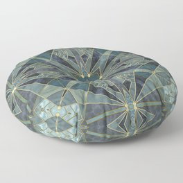 Elegant Teal Green Stained Glass Design Floor Pillow