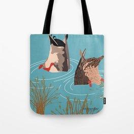 Ducks taking a bath Tote Bag