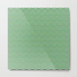 Green and White Christmas Chevron Stripe Metal Print