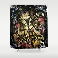 mad hatter Shower Curtains featuring MAD ALICE: HATTER by Chandelina