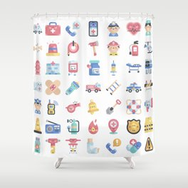 CUTE HERO JOBS / POLICE / FIREFIGHTER / DOCTOR PATTERN Shower Curtain