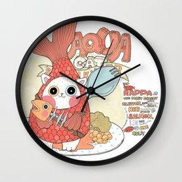 Aqua cat_ Rappa Wall Clock