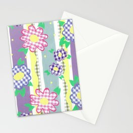 Gingham Floral Spring Stripe by Nettie Heron-Middleton Stationery Cards