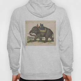 Vintage Painting of Men Riding an Elephant Hoody