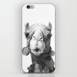 Black and White Camel Portrait iPhone Skin