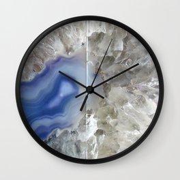 Blue geode agate druse crystal quartz gem gemstone mineral stone science agate photograph hipster Wall Clock