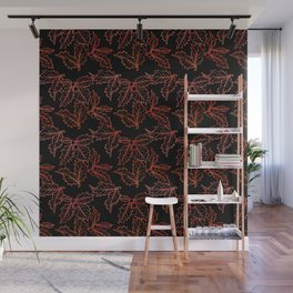 Holly Sprigs (Black Glow) - Jolly Red Wall Mural