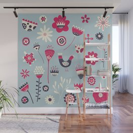Scandi Birds and Flowers Blue Wall Mural