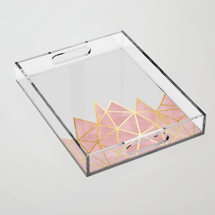 Pink & Gold Geometric Acrylic Tray