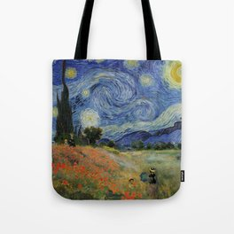 Poppy Fields + Starry Night | Collage 2.0 by Kristi Duggins Tote Bag