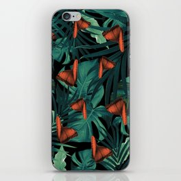 Tropical Butterfly Jungle Night Leaves Pattern #2 #tropical #decor #art #society6 iPhone Skin