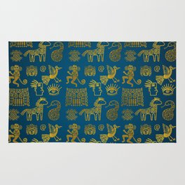 Aztec ancient animal gold symbols on teal Rug