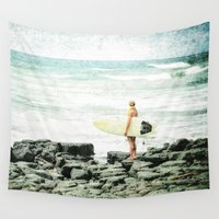 surfer Wall Tapestries featuring Surfer Girl by Elliott's Location Photography