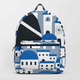 Santorini village pattern in white and blue Backpack