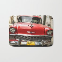 Vintage Red American Car on the Streets of Havana. Bath Mat