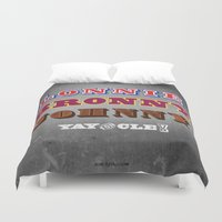 lebron Duvet Covers featuring Lonnie, Bronny, Johnny by Melissa Olson
