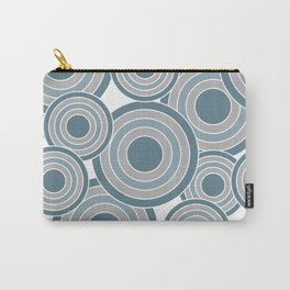 Overlapping Circles in Slate Blue and Gray Carry-All Pouch