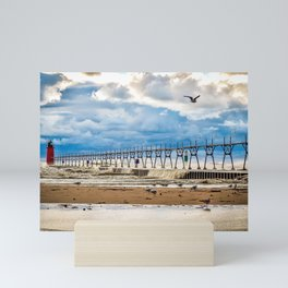 """South Haven Lighthouse"" - South Haven, MI Mini Art Print"