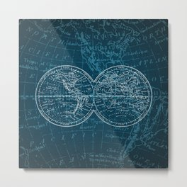 Antique Navigation World Map in Turquoise and White Metal Print
