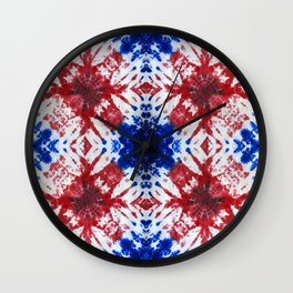 tie dye ancient resist-dyeing techniques Indigo blue red textile Wall Clock