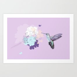 Lavender hummingbird and flower watercolor Art Print