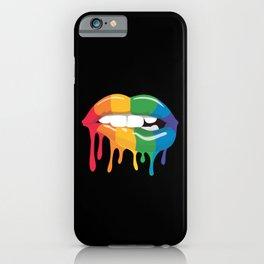 Rainbow lips best gift iPhone Case