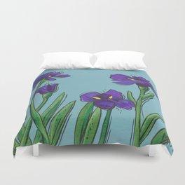 Irises on Blue Duvet Cover