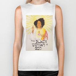 the black woman is god Biker Tank