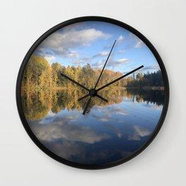 Swedish Lake. Fall Colors Reflected on Water Wall Clock