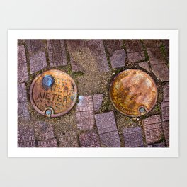 Water Meter Caps, from my street photography collection Art Print