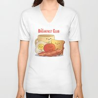 breakfast club V-neck T-shirts featuring The Breakfast Club by According to Devin
