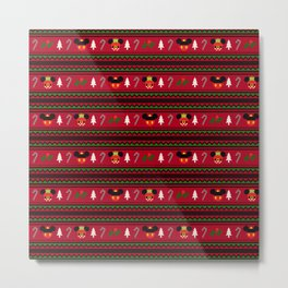 Christmas Mouse Ears Ugly Sweater Pattern Metal Print