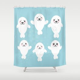 Funny white fur seal pups, cute seals with pink cheeks and big eyes. Kawaii albino animal Shower Curtain