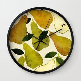 mediterranean pears watercolor Wall Clock