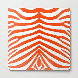 Fluorescent Orange Neon and White Zebra Stripe Metal Print