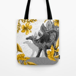 Jurassic Stegosaurus: Gold & Gray Tote Bag
